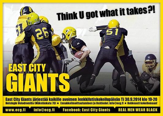 East City Giants järjestää kokeilupäivän joukkueeseen 30.9.2014 !